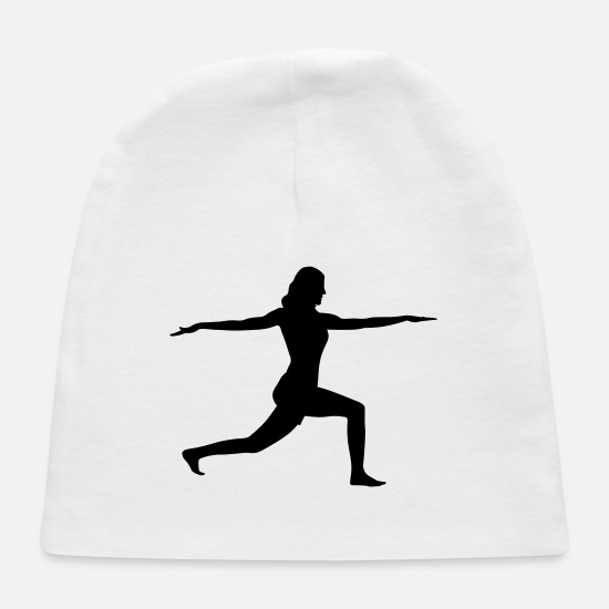 Fitness Baby Caps - Exercise Stretch Silhouette - Baby Cap white