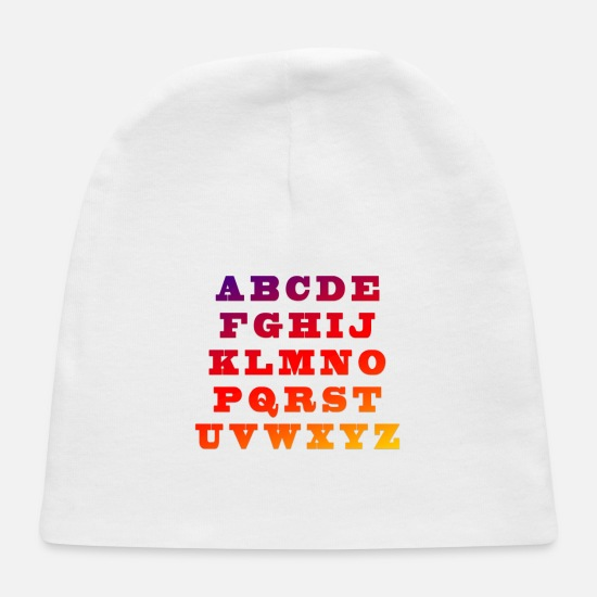 Color Baby Caps - Know Your Alphabet - Baby Cap white