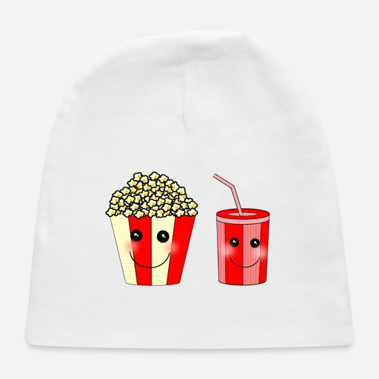 Love Baby Caps - Popcorn and beverage art - Baby Cap white