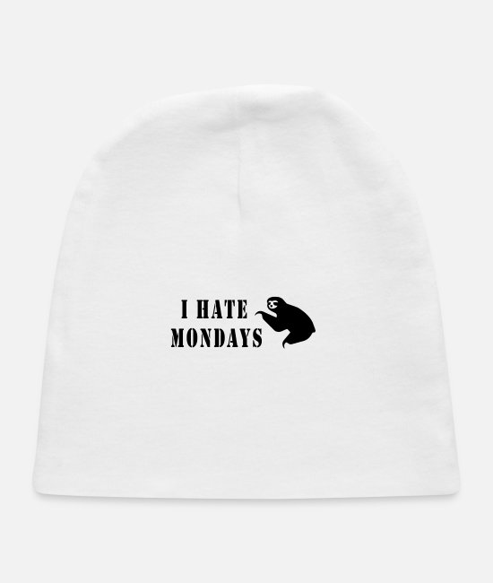 Lazy Baby Hats - hate mondays - Baby Cap white