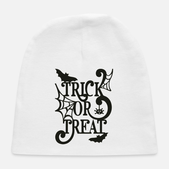 Halloween Baby Caps - Trick or treat Halloween silhouette design - Baby Cap white