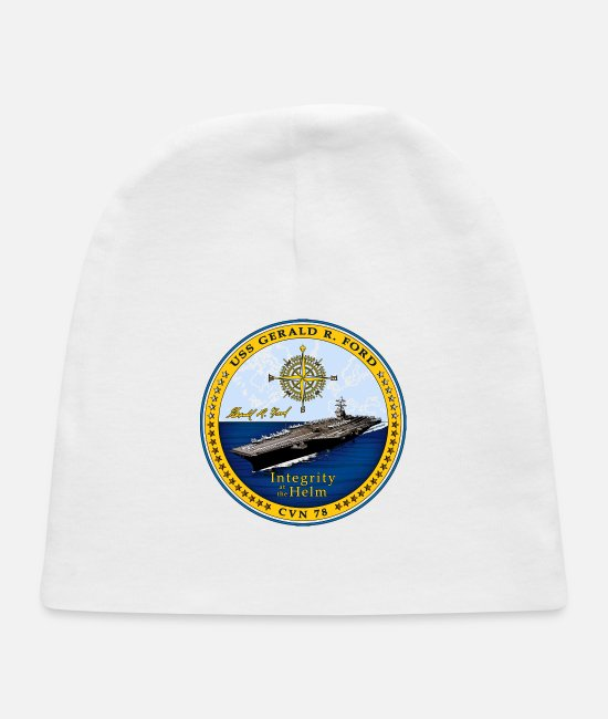 USN Baby Hats - USS Gerald R Ford Crest - Baby Cap white