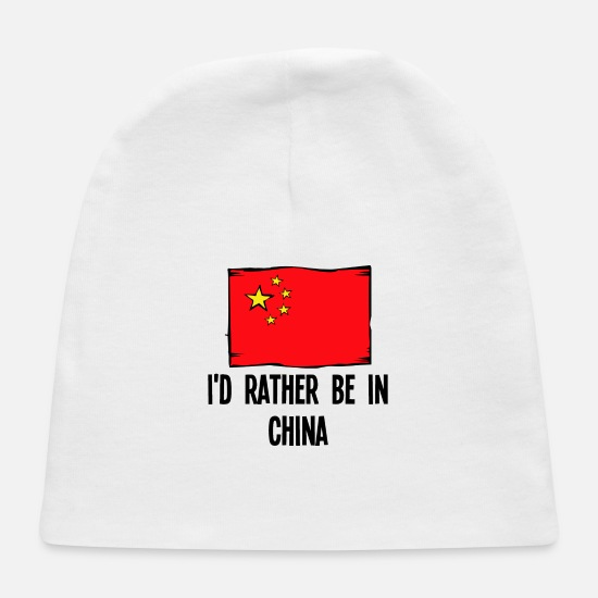 Flag Baby Caps - I'd Rather Be In China - Baby Cap white