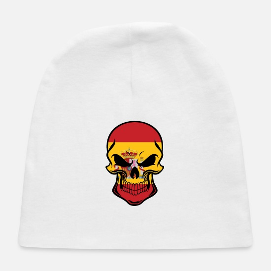 Country Baby Caps - Spanish Flag Skull - Baby Cap white