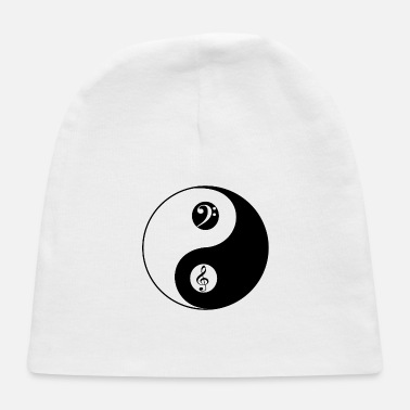 Music Yin and Yang Music T Shirt Gift Violin Bass Clef F - Baby Cap