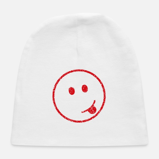 Red Baby Caps - emoticon stamp (sticking) - Baby Cap white