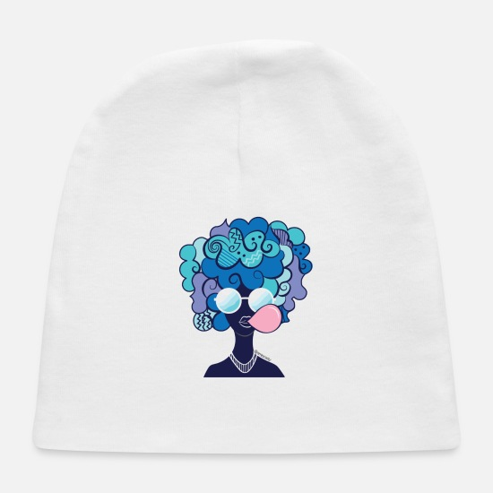 Graphic Art Baby Caps - Afro Chillin - Baby Cap white