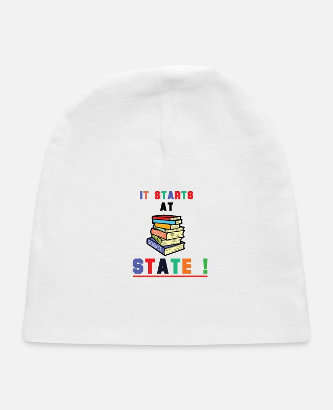 Learning Baby Hats - It Starts At STATE! -Education Majors - Baby Cap white