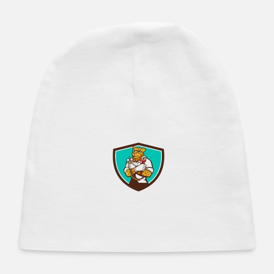 Leopard Baby Caps - Leopard Heating Specialist Mechanic Shield Cartoon - Baby Cap white
