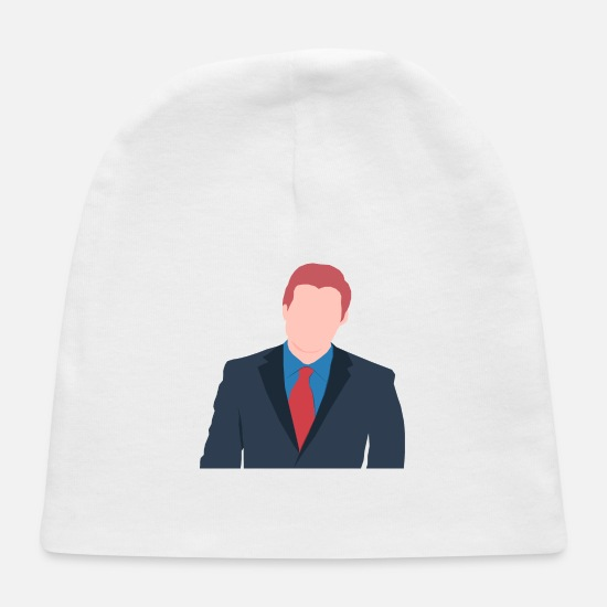 Muscular Baby Caps - Faceless Male Avatar In Suit 2 - Baby Cap white