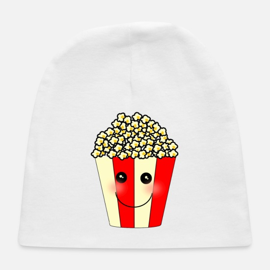Popcorn Baby Caps - Popcorn snack food cartoon art - Baby Cap white