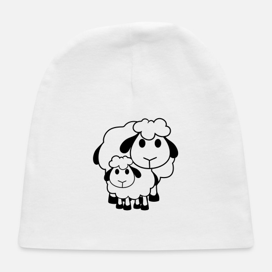 Wool Baby Caps - mama papa family child lamb baby funny small cute - Baby Cap white