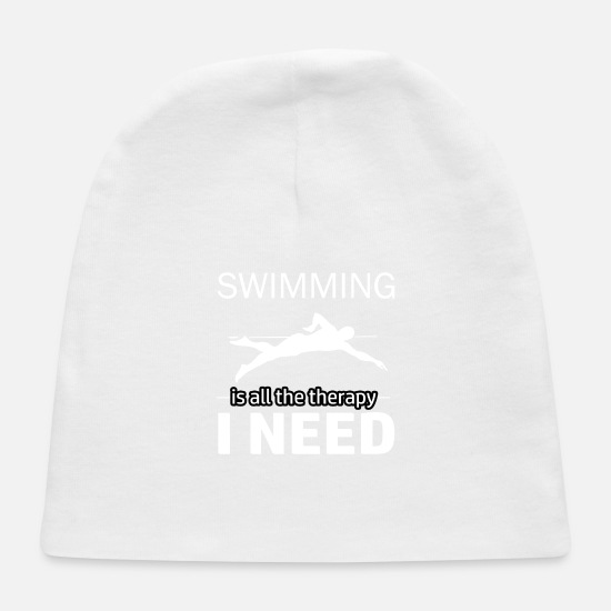 Swim Designs Baby Caps - Swimming is my therapy - Baby Cap white
