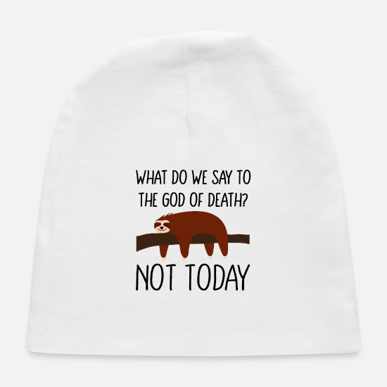 Relax Baby Caps - sloth chilling napping hanging not today - Baby Cap white