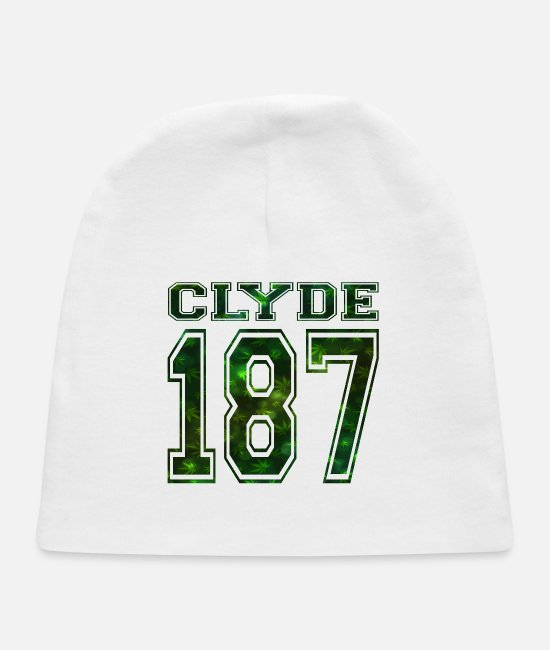 Mafia Baby Hats - Clyde 187 crime strasse Bonnie rot weed smoke - Baby Cap white