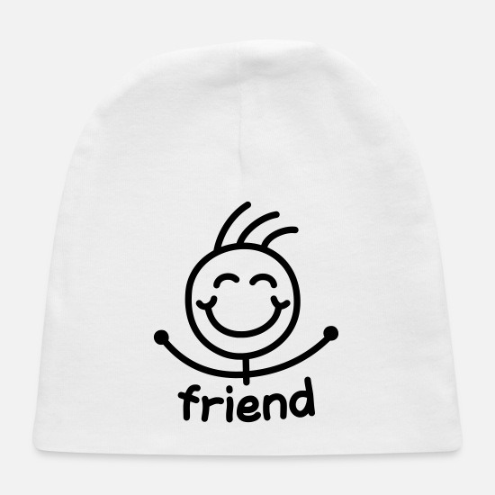 Stick Figure Baby Caps - friend - Baby Cap white