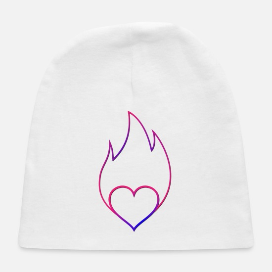 Bliss Baby Caps - Heart on Fire Happy Follow Joy Passion Fun Bliss - Baby Cap white