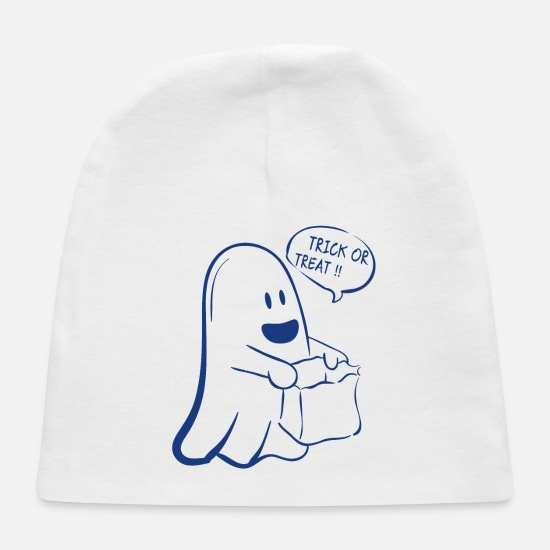 Treat Baby Caps - Trick or Treat Ghost Halloween - Baby Cap white