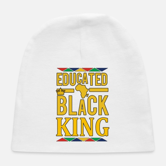 High School Graduate Baby Caps - Educated Black KING - Baby Cap white