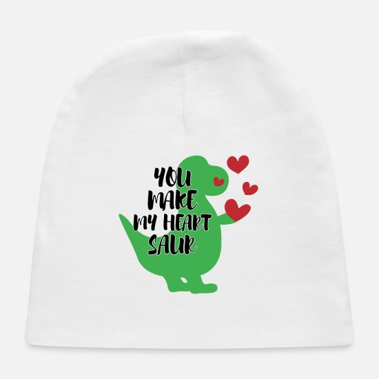 Love Baby Caps - You Make My Heart Saur - Baby Cap white