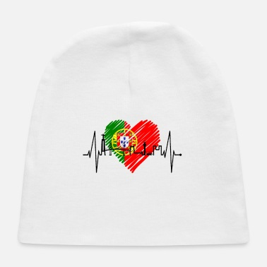 Portugal Lisbon Skyline Heartbeat Flag Lisboa Portugal Fan - Baby Cap