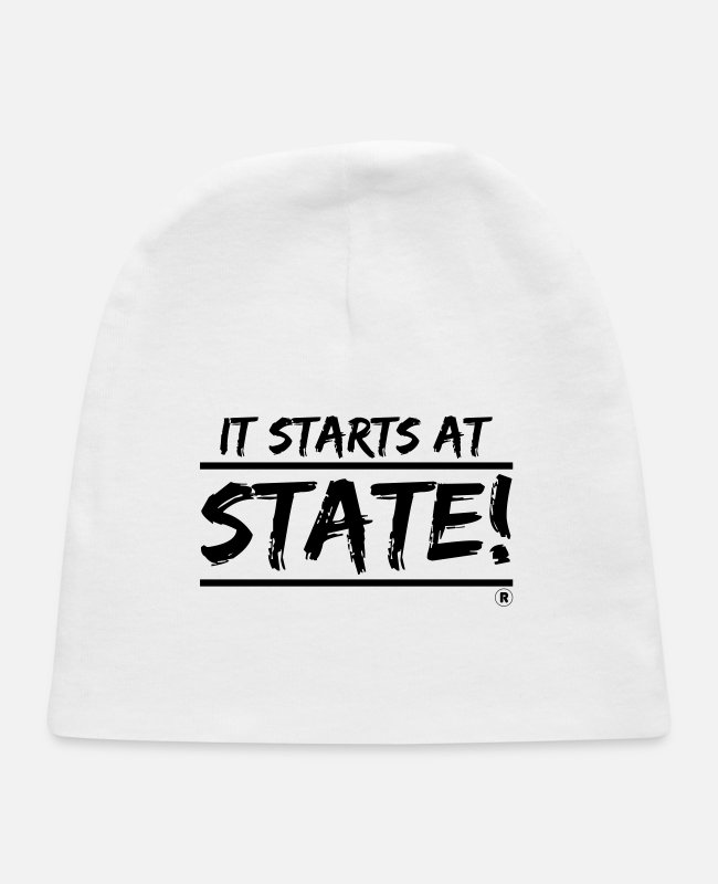 Learning Baby Hats - It Starts at STATE! - Black Brush - Double Bar - Baby Cap white