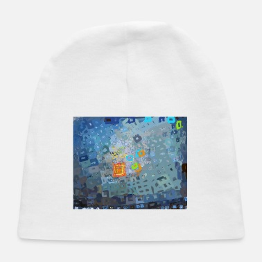spreading blue square abstract - Baby Cap