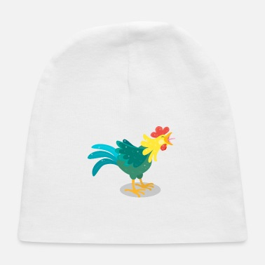 House Fowl Cute funny crowing rooster cartoon illustration - Baby Cap
