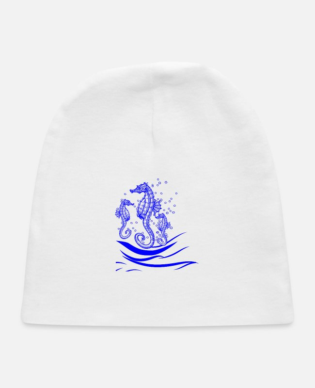 Water Baby Hats - GIFT - SEA HORSE BLUE - Baby Cap white