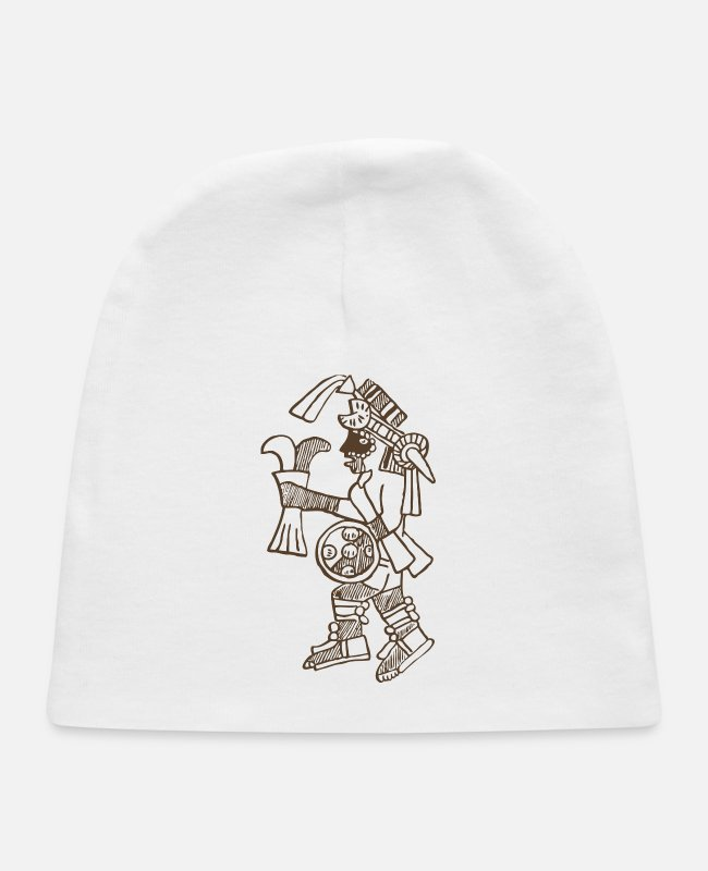 Warriors Baby Hats - Aztec Warrior Design - Baby Cap white