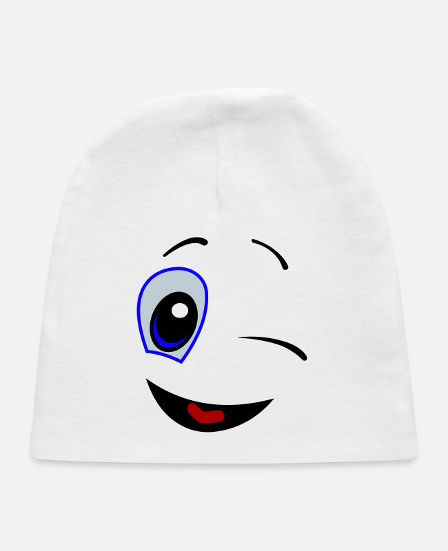 Enjoyment Of Life Baby Hats - comic smiley - Baby Cap white