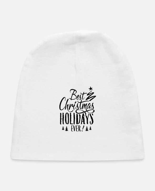Happy Holidays Baby Hats - Best Christmas Holidays Ever X-Mas Trip Vacation - Baby Cap white