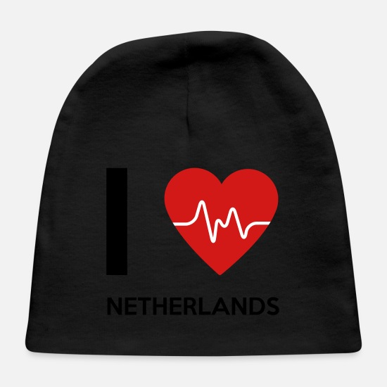 Country Baby Caps - I Love Netherlands - Baby Cap black