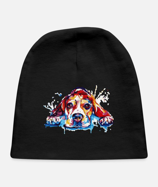 Sweet Dog Baby Hats - Colorful Dog - Baby Cap black