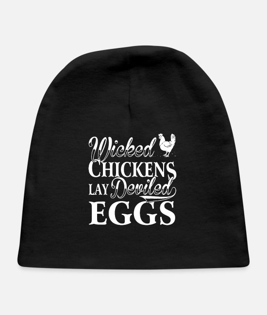 Evil Baby Hats - Wicked Chickens Lay Deviled Eggs - Baby Cap black