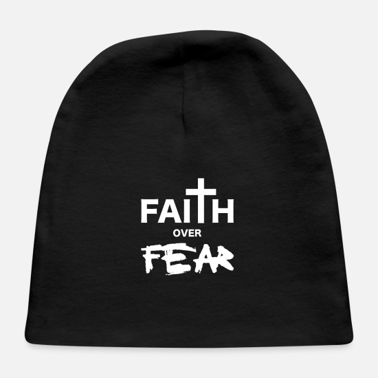 Religious Baby Caps - Christian statement faith over fear - Baby Cap black