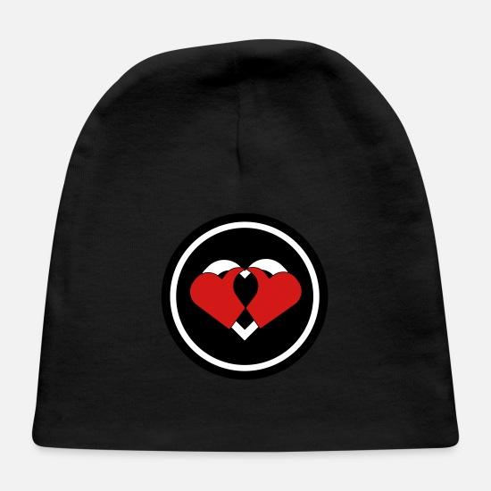Two Color Baby Caps - Two Hearts - Baby Cap black