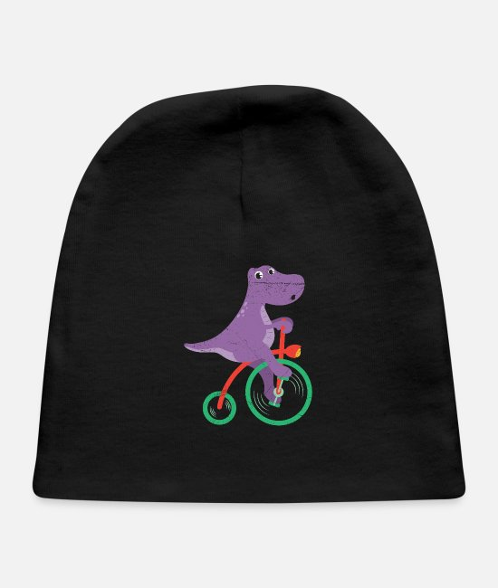 Cycling Baby Caps - Dinosaur Dino Riding Bicycle Dino Lover - Baby Cap black