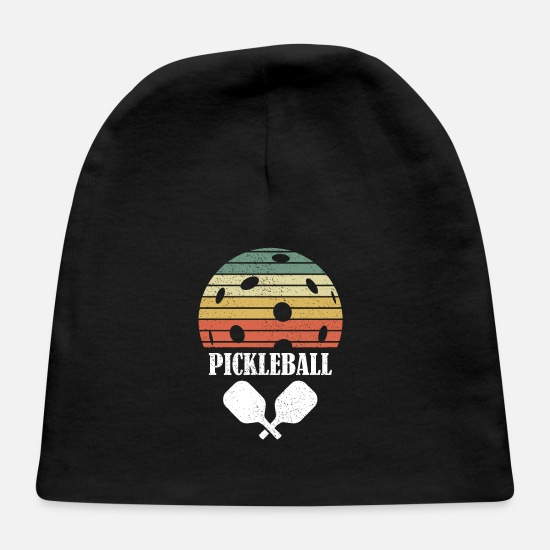 Birthday Baby Caps - Pickleball Vintage Distressed Retro Player - Baby Cap black