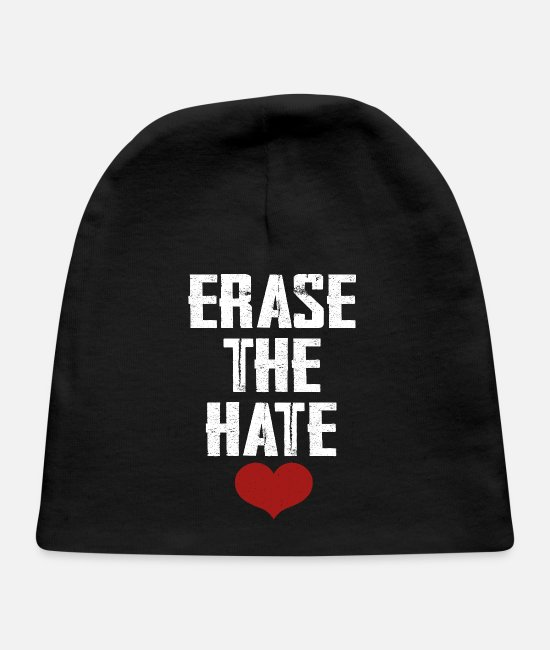 Gay Pride Baby Hats - Erase The Hate - Baby Cap black