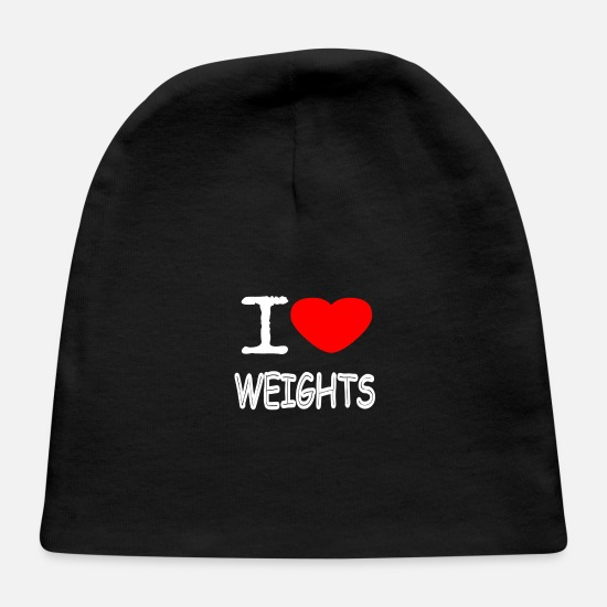 Squat Baby Caps - I LOVE WEIGHTS - Baby Cap black