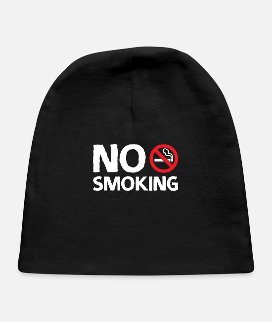 Lighter Baby Hats - Smoking Cigarette Warning Non-Smoker Funny Gift - Baby Cap black
