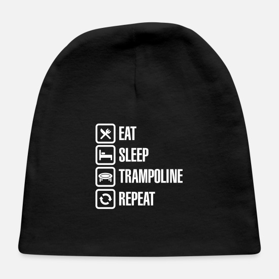 Gymnast Baby Caps - Eat Sleep Trampoline Repeat funny trampolining fun - Baby Cap black