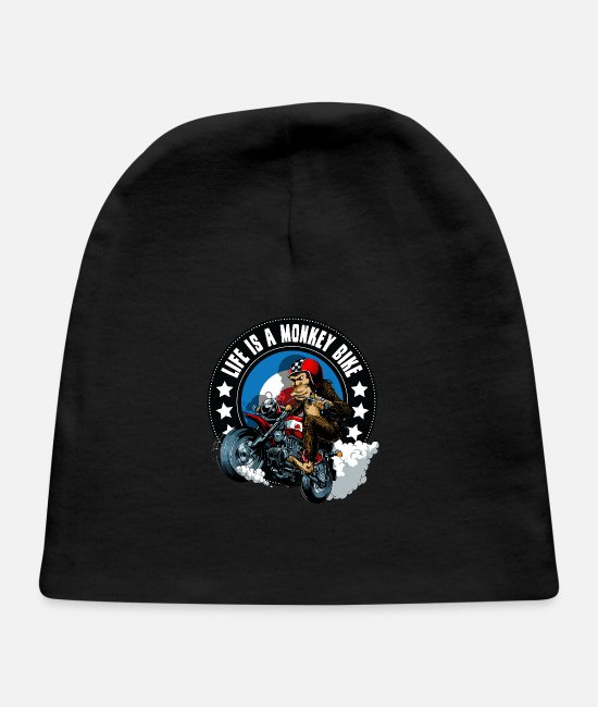 Motorcycle Baby Hats - Life is a monkey bike - Baby Cap black