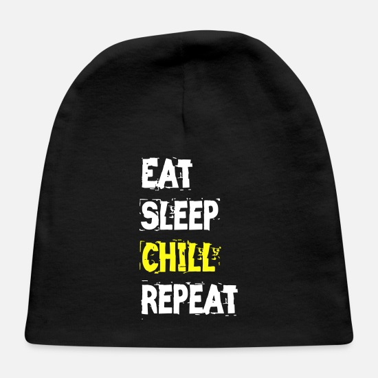 Rest Baby Caps - Eat sleep chill repeat - Baby Cap black
