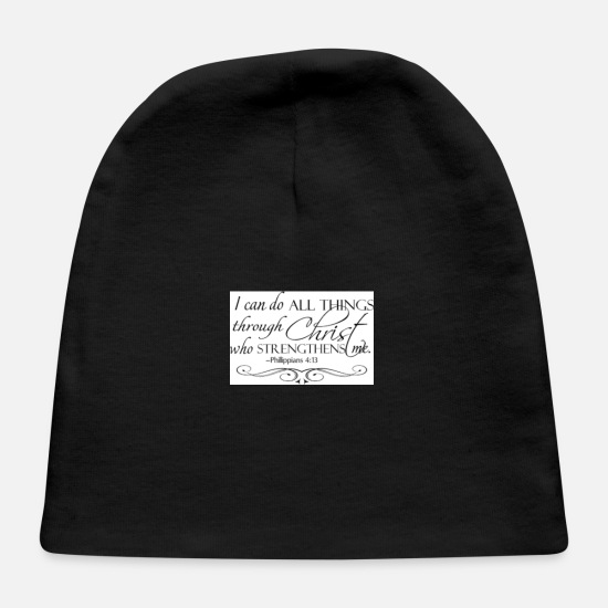 Religious Baby Caps - I can do all things - Baby Cap black