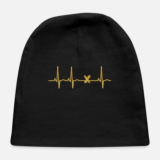 Birthday Baby Caps - evolution ekg heartbeat Legendary Longboard - Baby Cap black