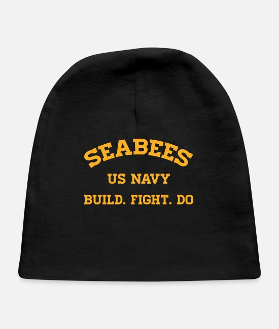 Navy Baby Hats - Navy Seabees Gift US Navy Construction Battalion - Baby Cap black