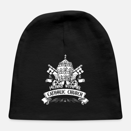 Catholic Baby Caps - Catholic Church Shirt - Baby Cap black