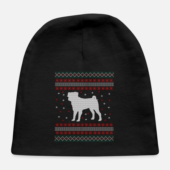 Ugly Christmas Sweater Baby Caps - Pug Ugly Christmas Sweater Gift - Baby Cap black
